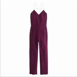 J.CREW 100% Silk Strappy Jumpsuit in Berry